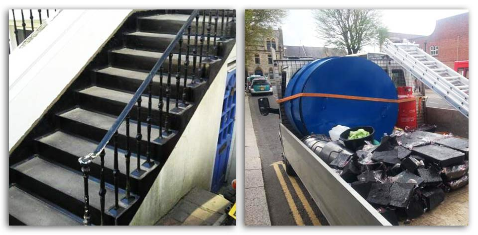 Here is an example of re conditioned steps and our work materials, by Damario Asphalt.